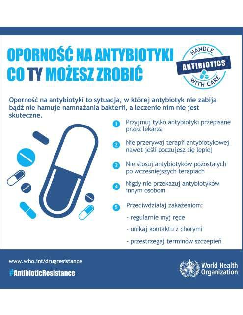 Antybiotyki - plakat WHO